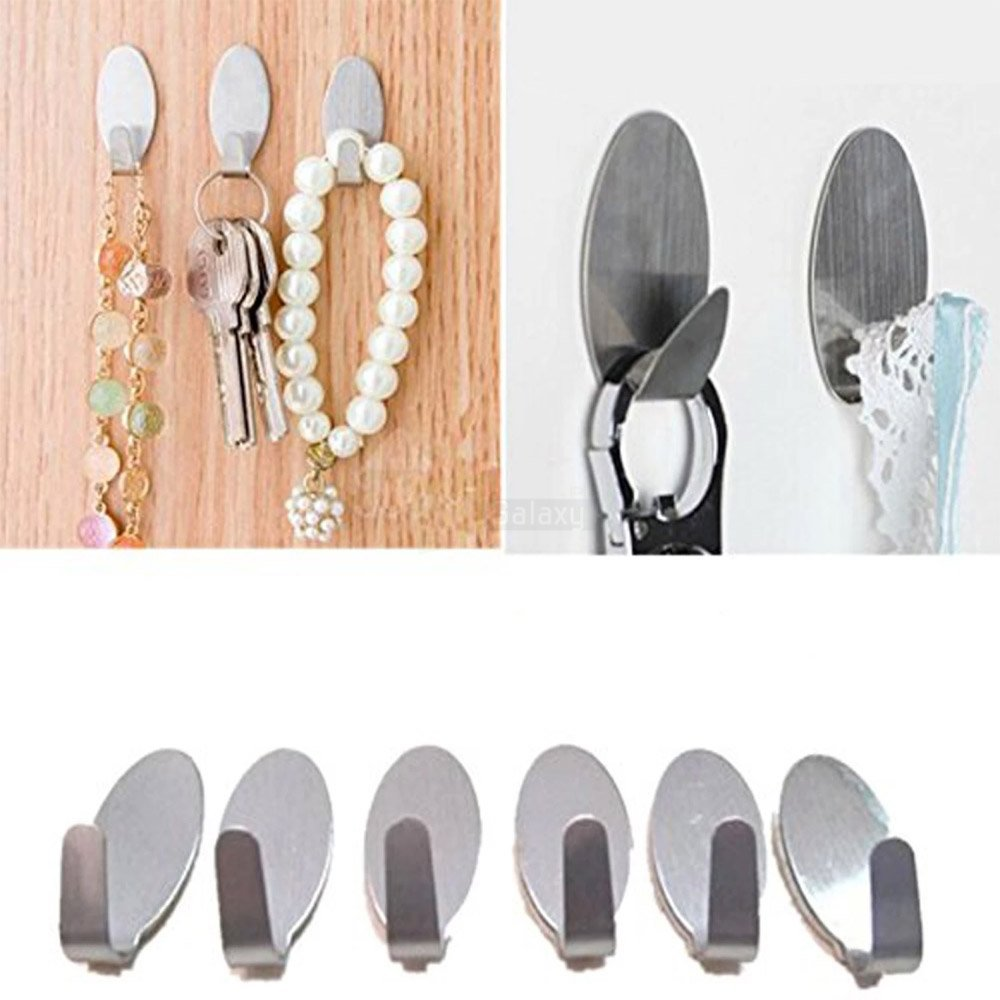 6 Pcs Stainless Steel Adhesive Hooks Clothes hanger Wall Hook For Kitchen, Bathroom keys