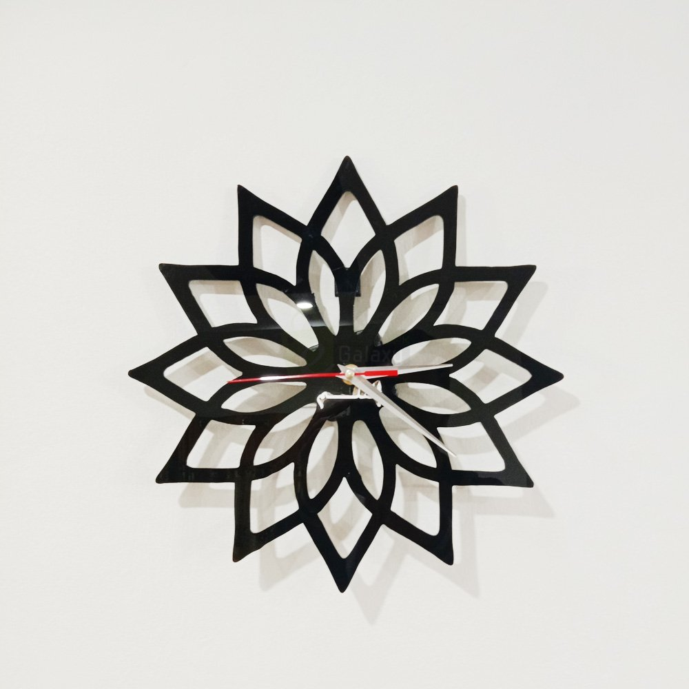 Acrylic clock black design 4 flower